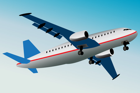 Graphic illustration of commercial airplane what is flying away. Vector