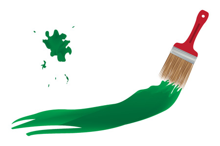 redecorate: Paintbrush creating a green line over white background