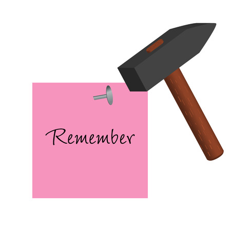 Graphic illustration of pink post-it with remember message Vector