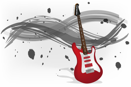 Graphic illustration of electric guitar with monochromatic background Vector