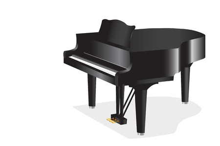 Graphic illustration of a piano against white background