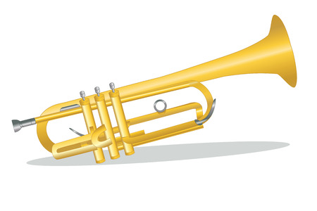blare: Graphic illustration of a trumpet against white background