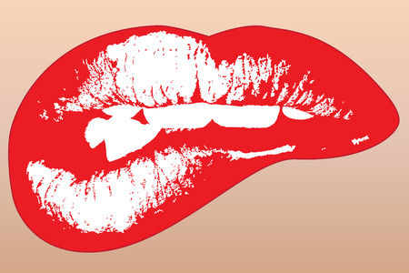 cartoon lips: Graphic illustration of red shinning lips Illustration