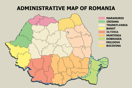 Graphic illustration with Administrative Map of Romania