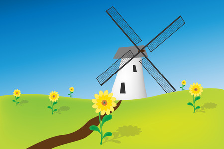 Graphic illustration of  windmill in natural environment Vector