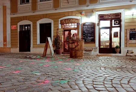 Cluj NApoca, Romania - March 14, 2011 - Night scene with a very famous bar from Cluj Napoca Stock Photo - 9036390