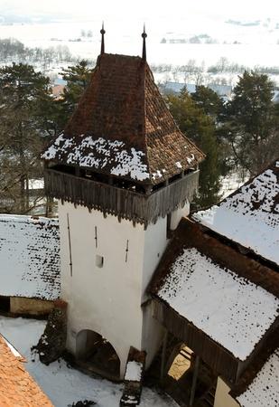Viscri, Romania - March 05, 2011 - Scene with internal yard of medieval church from Viscri