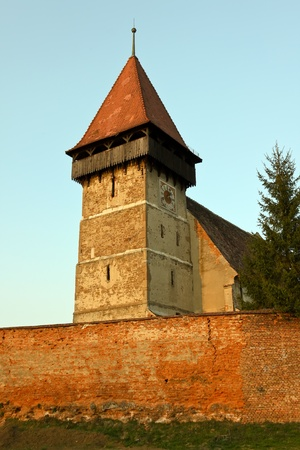 fourteenth: Fortified church from Brateiu, building took place in the fourteenth century Stock Photo