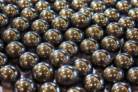 regularity: Scene with abstract metallic balls in group Stock Photo
