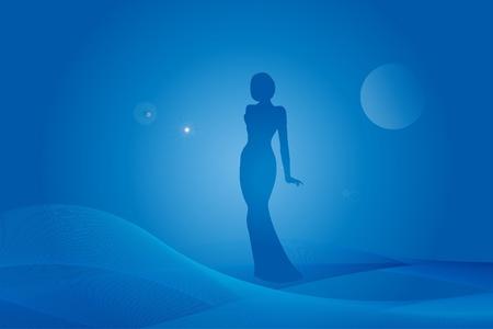 melancholy: Silhouet van de vrouw op fantasie blauwe achtergrond