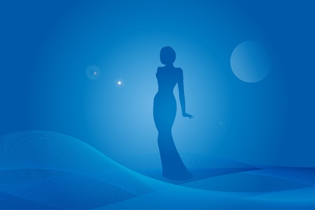 Woman silhouette on fantasy blue background Vector