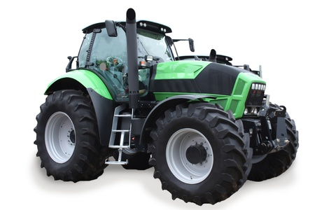 traktor: Szene mit einem neuen Traktor isolated on white background