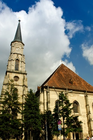 napoca: Scene with the Catholic Cathedral in Cluj Napoca, Romania