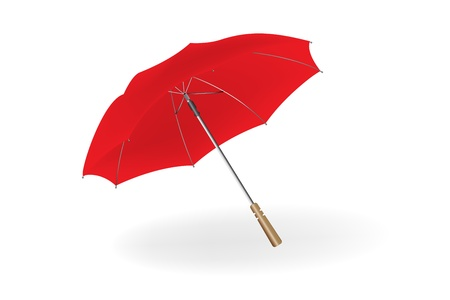 Opened red umbrella isolated on white background