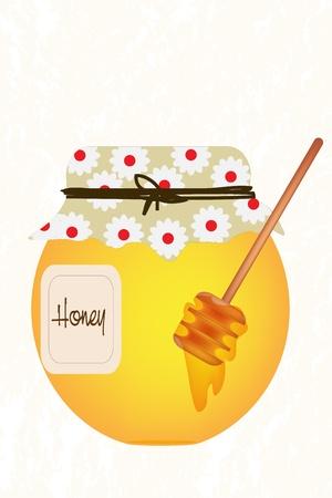 sweetener: Little jar with honey over grunge background Illustration