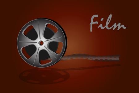 Cinema videofilm die op donkere achtergrond Vector Illustratie