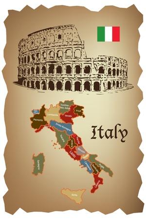 mapas conceptuales: Mapa de Italia y Colloseum en papel viejo  Vectores
