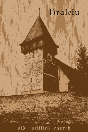 fortified: Graphic illustration of Brateiu fortified church