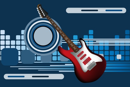 Graphic illustration of abstract background with electric guitar Vector