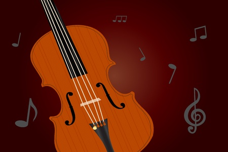 sidelight: Graphic illustration of old viola with musical notes