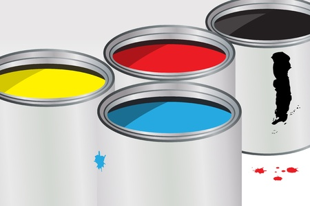 Close up scene of four containers of paint Vector
