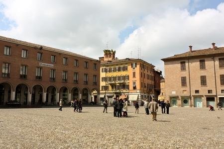 Modena, Italy - April 18, 2010 - Scene view from Piazza Grande of Modena