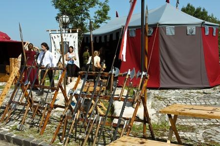 part prison: Brasov, Romania - August 06, 2011 - Preparations for medieval festival in Brasov Editorial