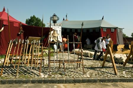 strategically: Brasov, Romania - August 06, 2011 - Scene from medieval festival at Brasov fortress