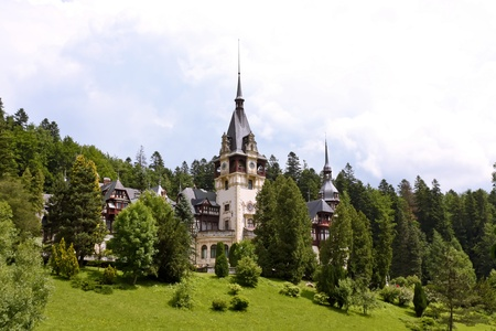 Sinaia, Romania - June 28, 2009 - Historical monument, Peles Castle is a Neo-Renaissance castle placed in an idyllic setting in the Carpathian Mountains, near Sinaia.  Stock Photo - 10230333