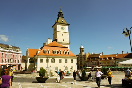 brasov: Brasov, Romania - August 13, 2011 -  Beautiful construction of city hall from Brasov