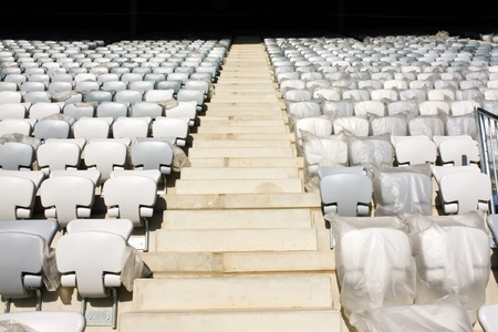 Cluj-Napoca, Romania - August 24, 2011 - Rows of newly built stadium chairs on Arena stadium from Cluj-Napoca