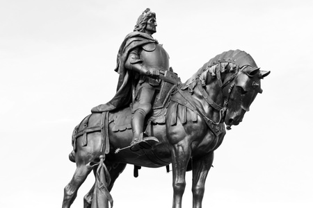 A statue of a horse and a rider outside.  photo