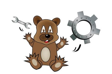 herramientas de mec�nica: Un oso de dibujos animados con herramientas mec�nicas