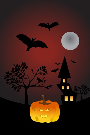 A halloween themed illustration with a pumpkin. Vector