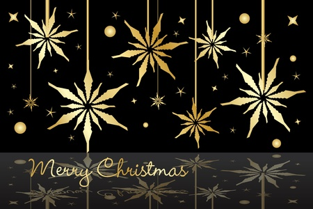 Graphic illustration of golden Christmas stars Vector