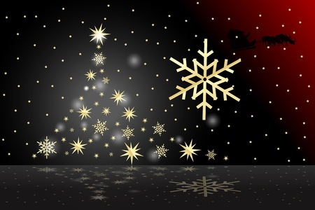 ball lights: Graphic illustration of  christmas tree design with golden stars