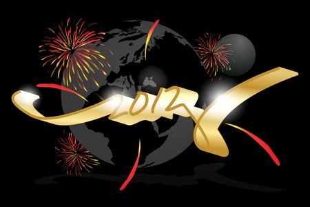 Graphic illustration of Happy new year 2012 over the world Vector
