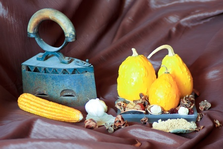 Various autumn items arranged on brown background photo