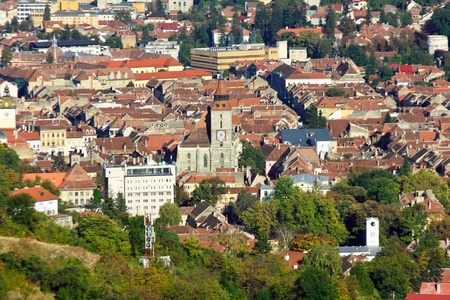 brasov: View over old part of Brasov city Stock Photo