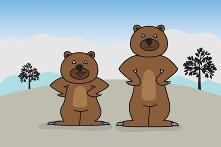 hibernate: Graphic illustration of two friendly bears