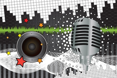 Graphic illustration of musical background with microphone and loudspeaker Illustration