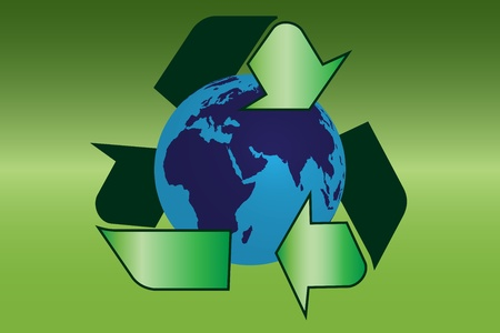 Graphic illustration of recycle sign with earth Vector