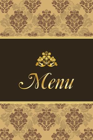Coperchio per menù del ristorante con elementi d'epoca