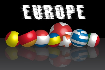 3d ball what is represent the European countries flags Vector