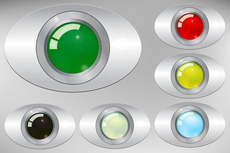 Graphic illustration of  glossy buttons over metallic support Stock Vector - 11373657
