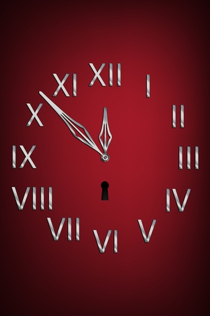 hour hand: Clock face with roman numbers over dark background Illustration