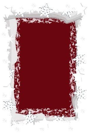 Graphic illustration of ice  frame over dark red background