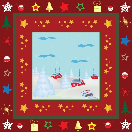 Graphic illustration of Christmas greeting card with traditional village illustration