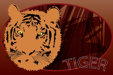 Graphic illustration of tiger portrait over safari background