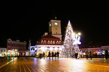 Brasov, Romania - December 13, 2011 - Piata Sfatului from Brasov in the night time
